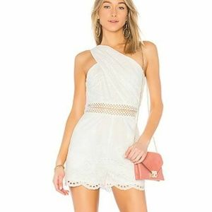Endless Rose Eyelet Romper Sz XS White Scalloped